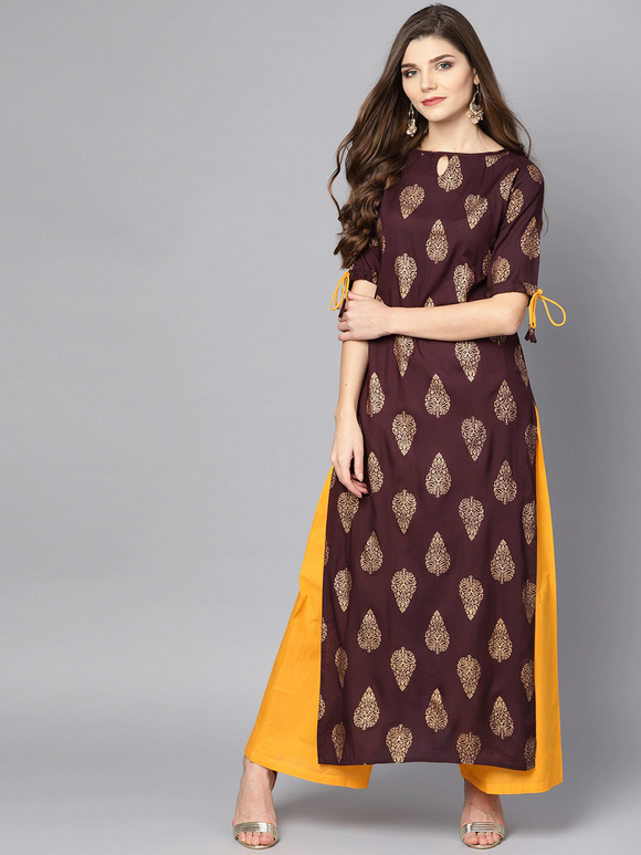 Burgundy & Mustard Yellow Printed Kurta with Palazzos