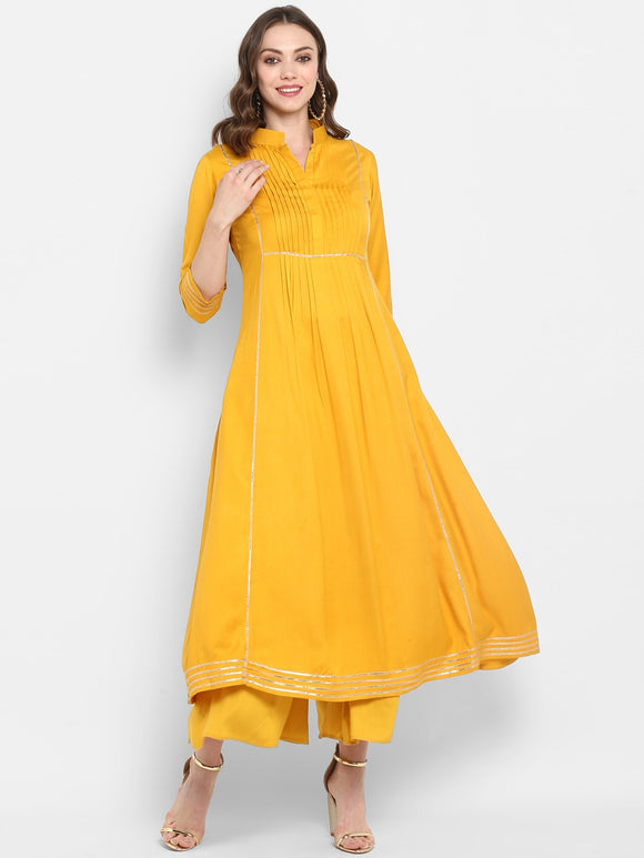 Yellow Solid A-Line Kurta (Top Only)
