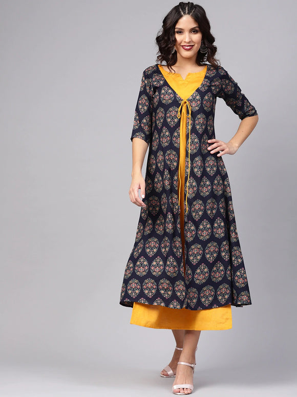 Mustard Yellow Solid Maxi Dress with Printed Ethnic Jacket