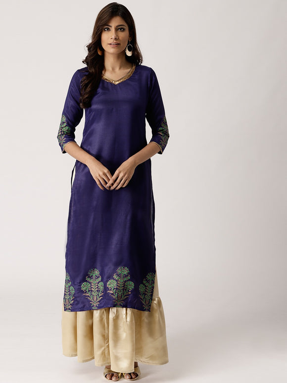 Blue & Golden Solid Kurta with Skirt