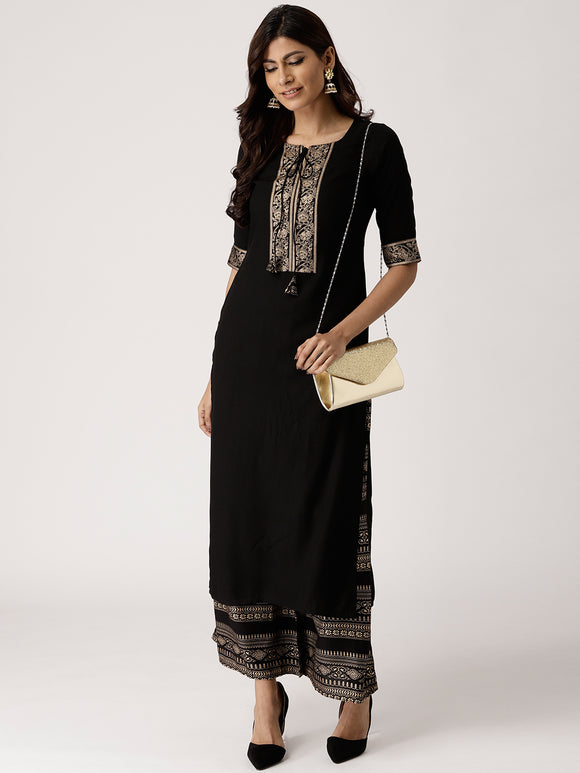 Black & Golden Solid Kurta with Palazzos