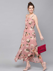 Dusty Pink Floral Print Belted Maxi Dress