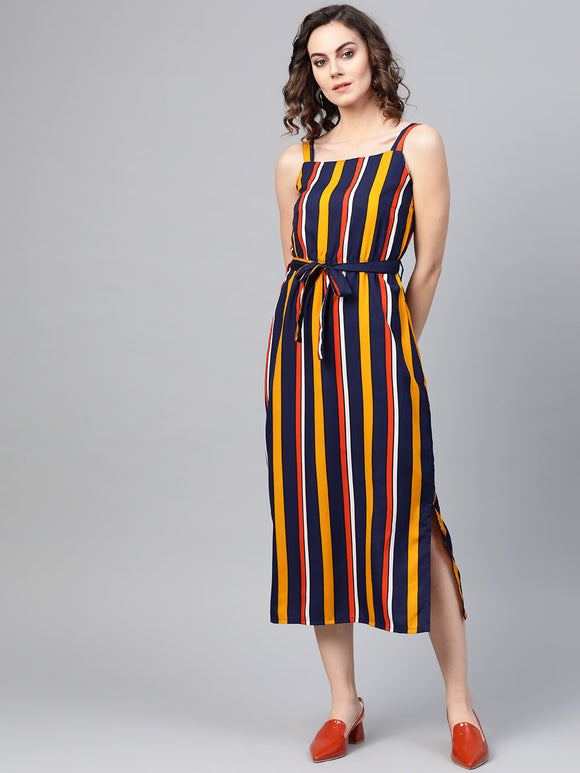 Navy Blue & Yellow Striped A-Line Dress