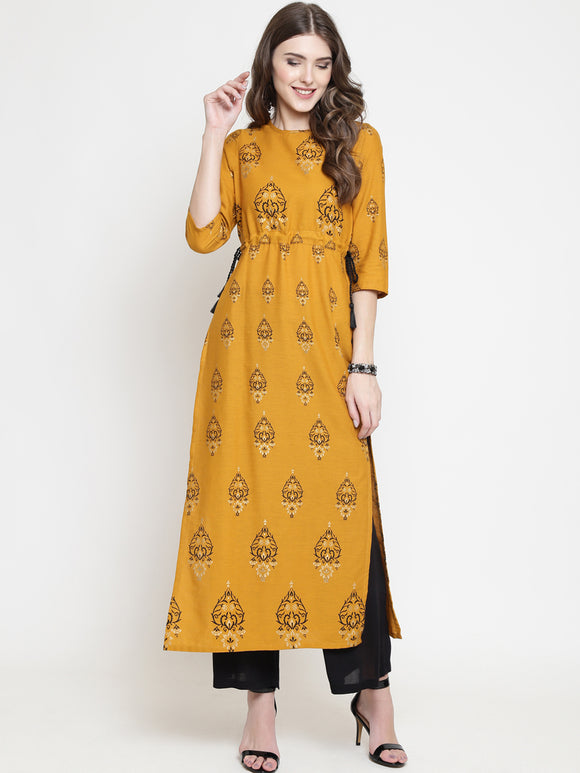 Mustard Yellow Printed Straight Kurta (Top Only)