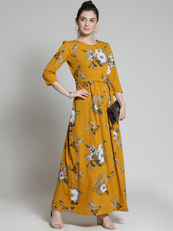 Mustard Yellow Floral Printed Maxi Dress