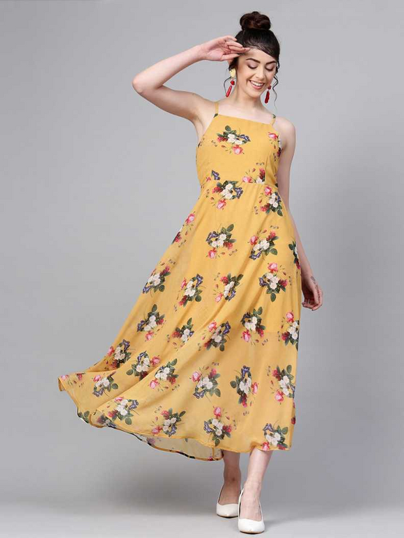 Mustard Yellow Floral Print Maxi Dress
