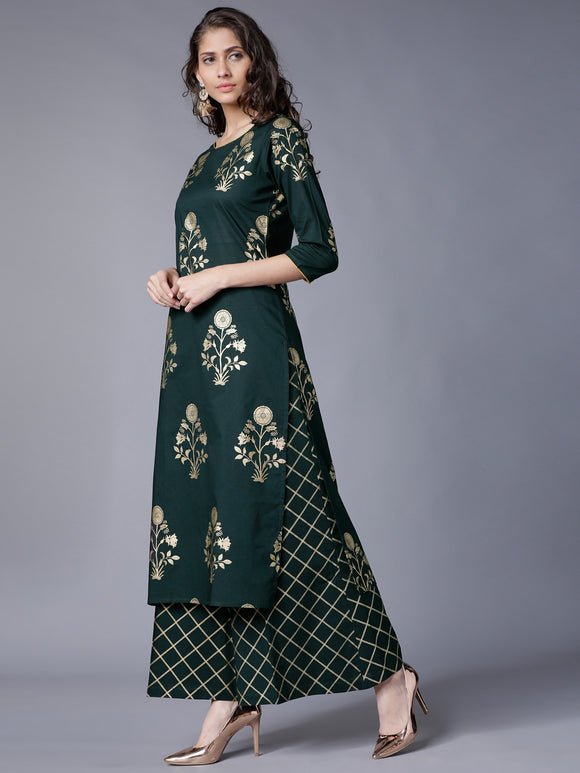 Green & Gold-Toned Printed Kurti with Palazzos