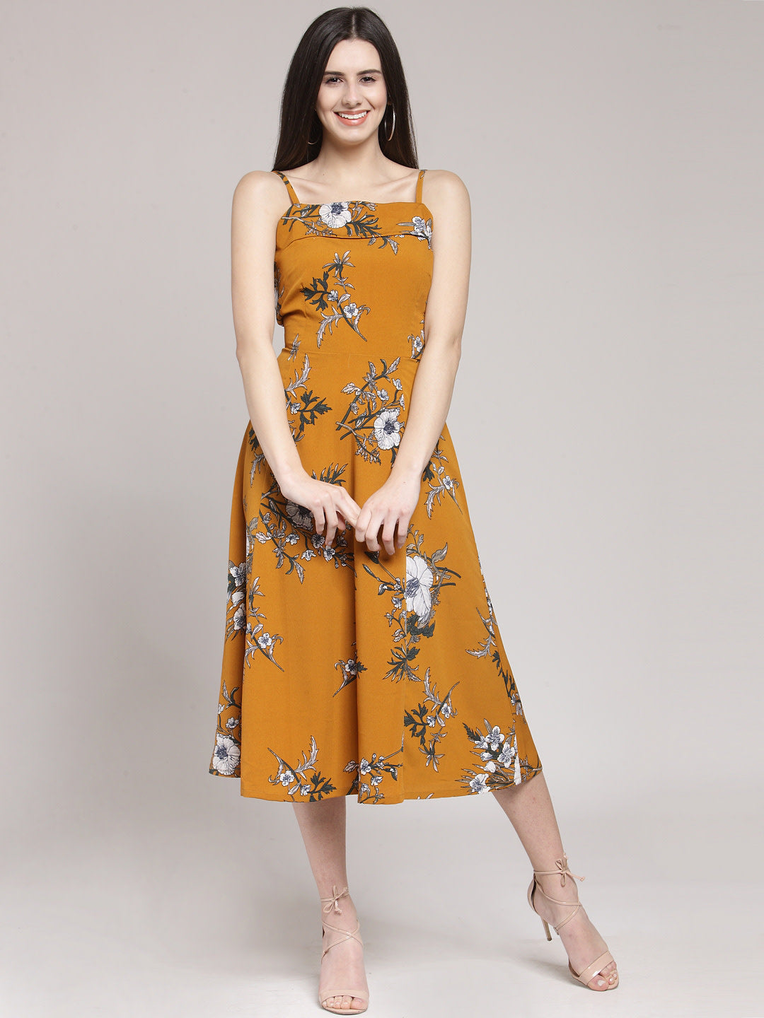 Mustard Yellow Printed Fit and Flare Dress