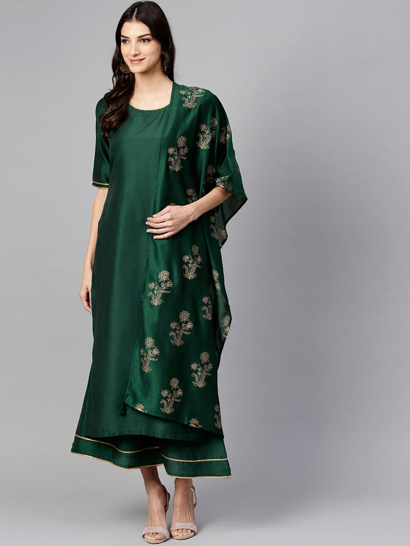 Green & Golden Solid Kurta with Palazzos & Dupatta