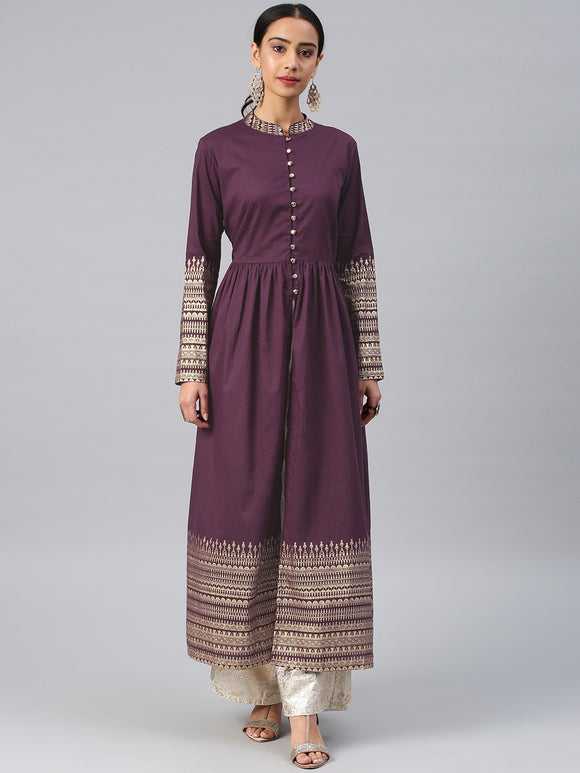 Burgundy Printed A-Line Kurta (Top Only)