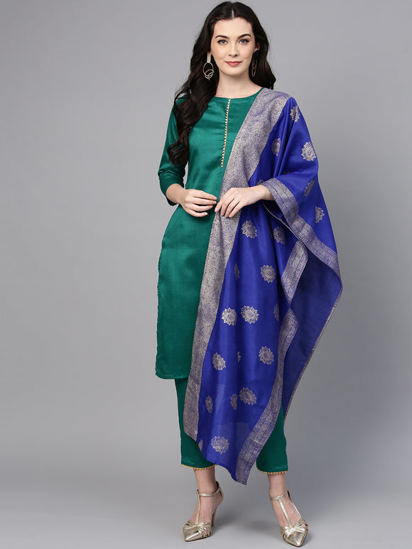 Green & Blue Solid Kurta with Trousers & Dupatta