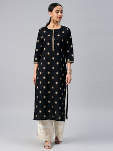 Black & Gold-Toned Printed Straight Kurta (Top Only)