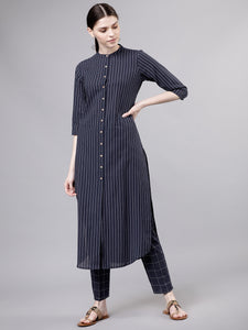 Navy Blue & Off-White Striped Kurta with Palazzos