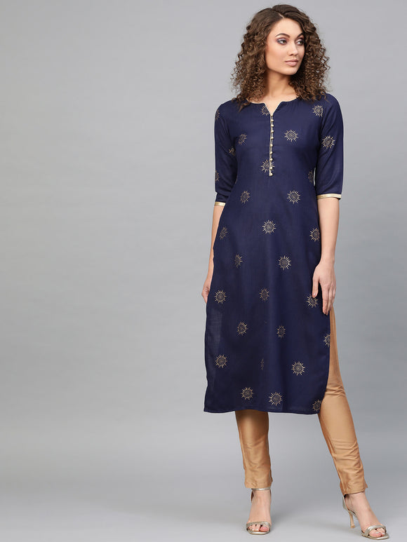 Navy & Golden Block Print Straight Kurta (Top Only)