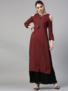 Maroon & Red Printed Straight Kurta (Top Only)