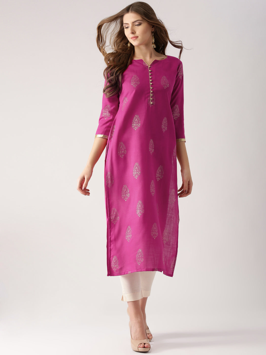 Pink Printed Straight Kurta (Top Only)