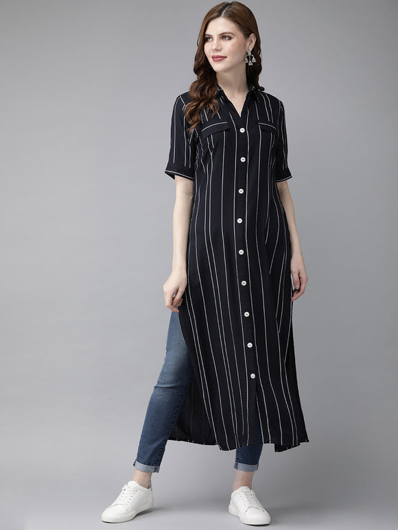 Navy Blue & White Striped Straight Kurta (Top Only)