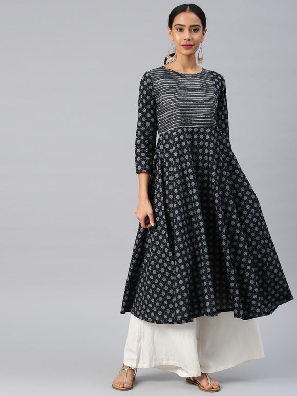 Black Printed Anarkali Kurta (Top Only)
