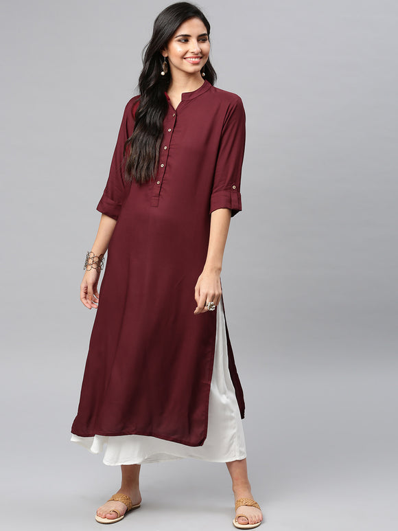 Maroon Solid Straight Kurta (Top Only)