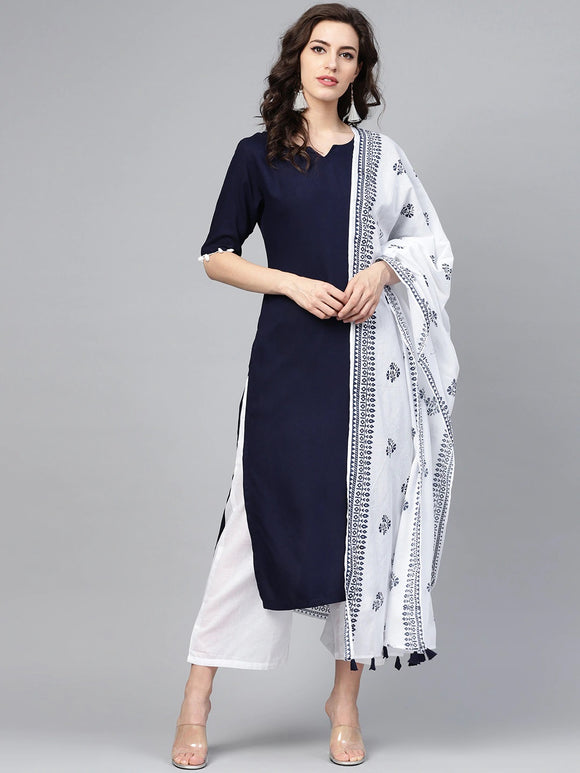 Navy Blue & White Solid Kurta with Trousers & Dupatta