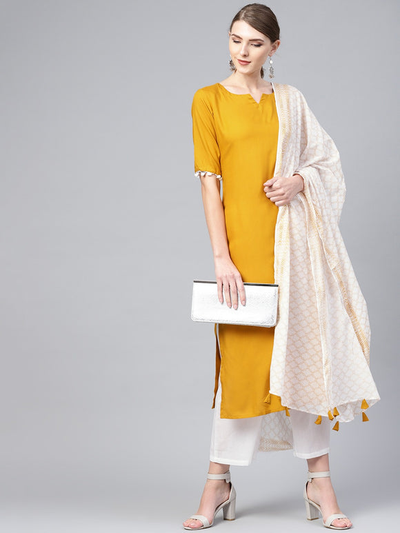 Mustard Yellow Solid Kurta with Palazzos & Dupatta