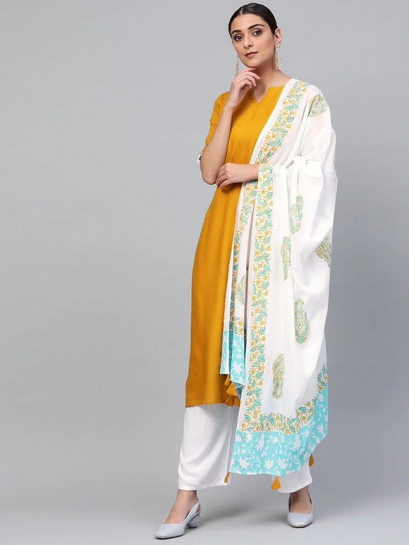 Mustard Yellow & White Solid Kurta with Palazzos & Dupatta