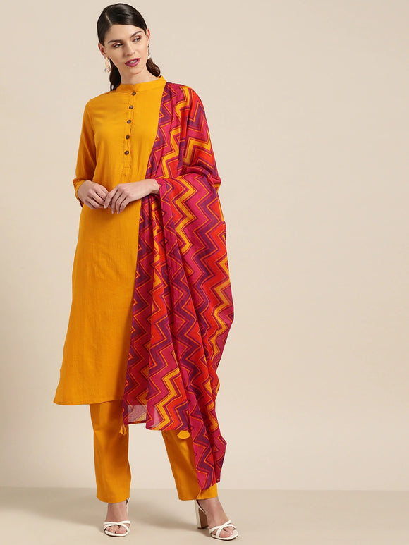 Mustard Yellow & Red Solid Kurta with Trousers & Dupatta