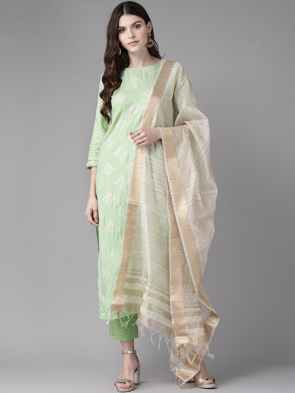 Women Green & White Foil Printed Kurta with Trousers & Dupatta