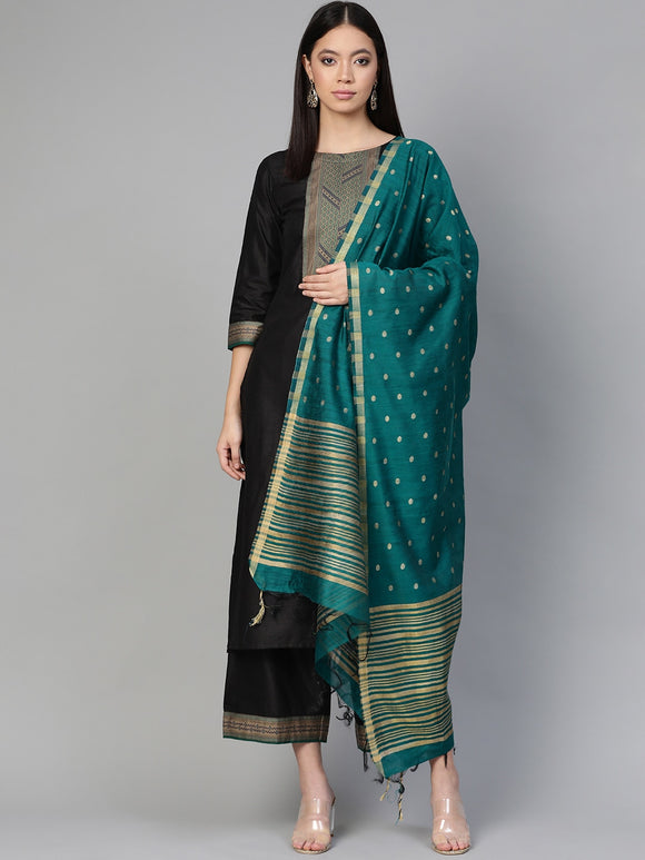Black & Teal Blue Yoke Design Kurta with Palazzos & Dupatta