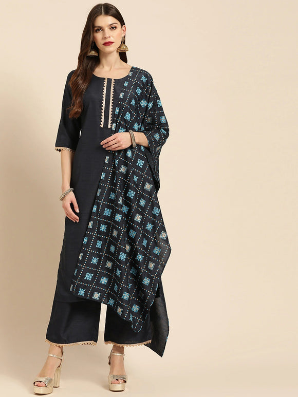Navy Blue Solid Kurta with Palazzos & Dupatta