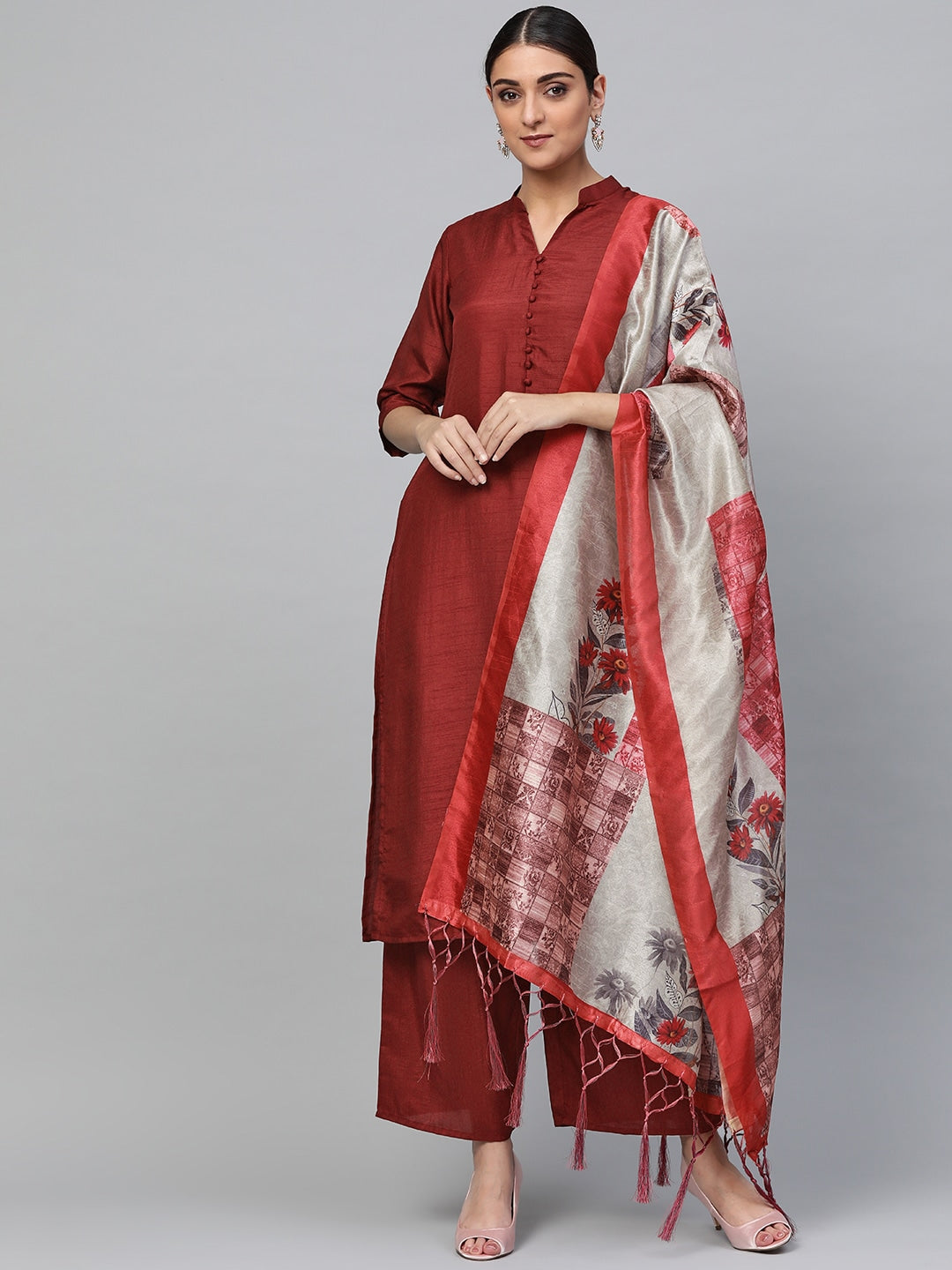 Maroon & Grey Solid Kurta with Palazzos & Dupatta