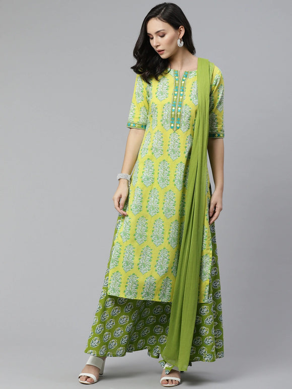 Yellow & Green Printed Kurta with Skirt & Dupatta