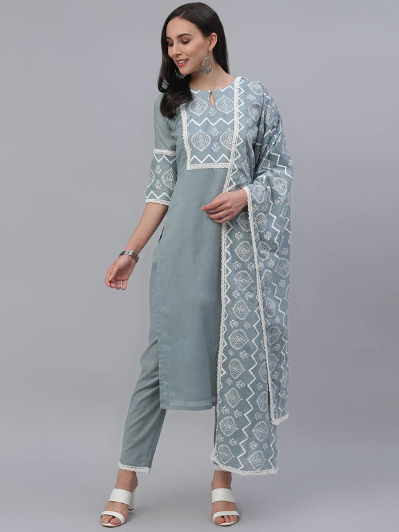 Grey Yoke Design Kurti with Trousers & Dupatta