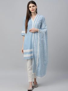 Blue Embroidered Kurta with Trousers & Dupatta