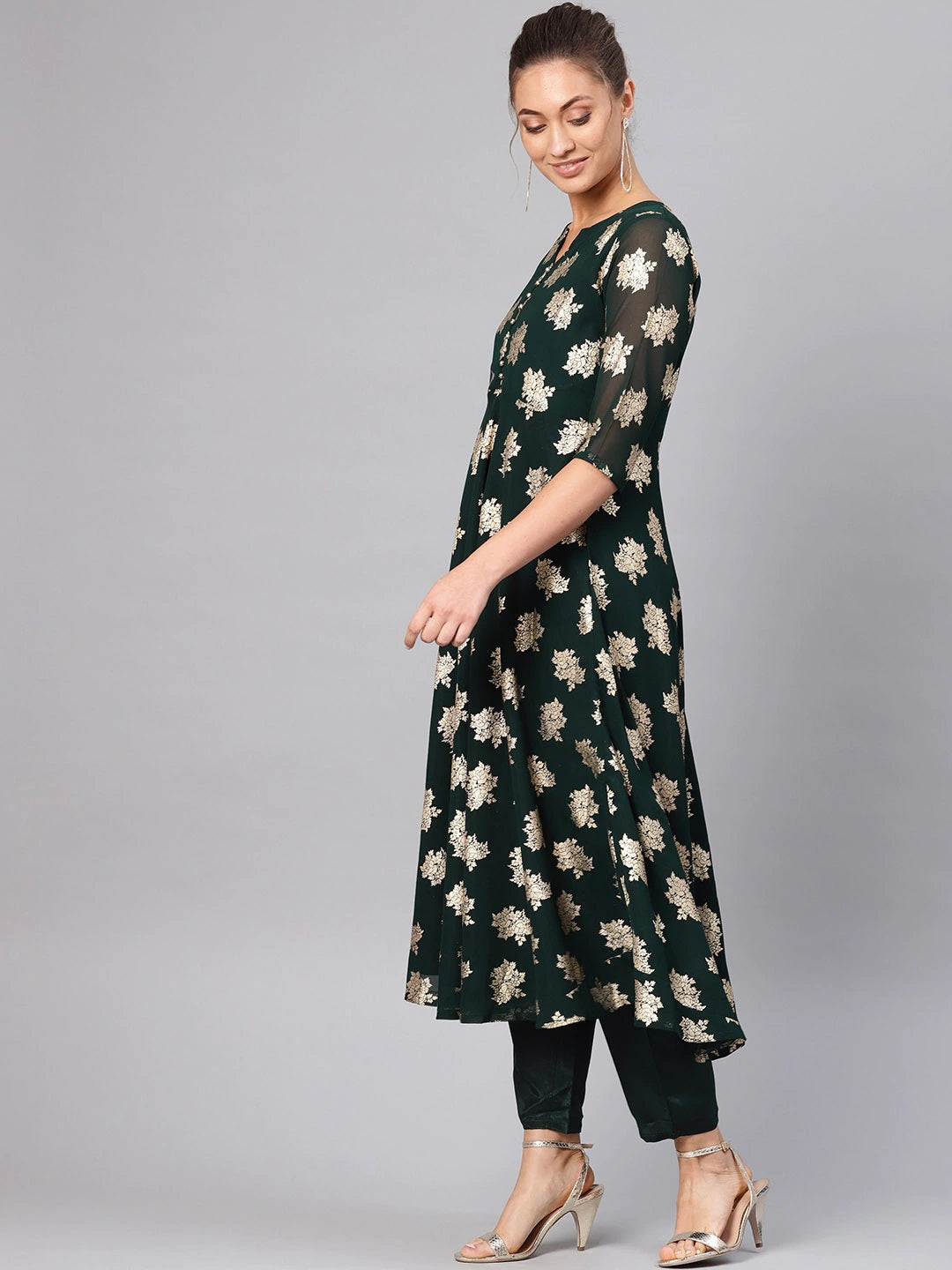 Green & Golden Block Print Kurta with Trousers & Stole