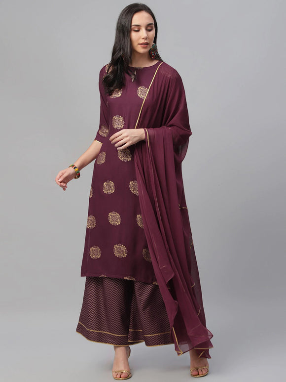 Maroon & Gold-Toned Printed Kurta with Palazzos & Dupatta