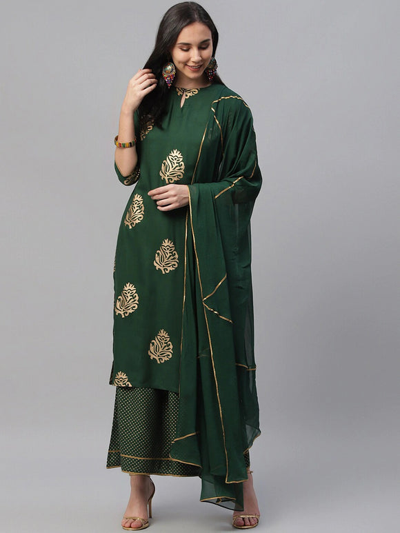 Green Printed Kurta with Palazzos & Dupatta
