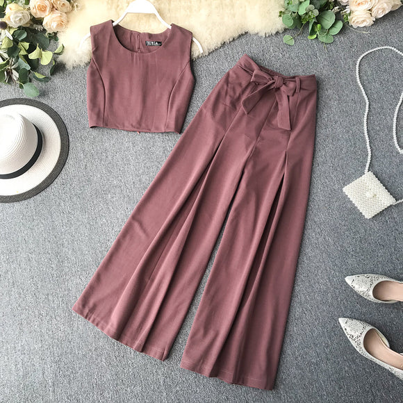 Sleeveless Top & Wide Leg Pants Set