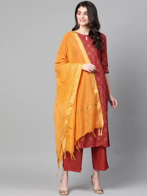 Red & Golden Foil Print Kurta with Palazzos & Dupatta
