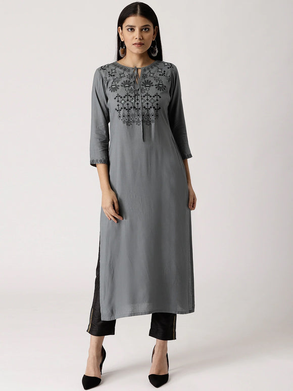 Charcoal Grey Yoke Design Straight Kurta (Top Only)