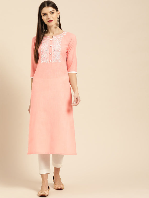 Pink & White Yoke Design Straight Kurta (Top Only)