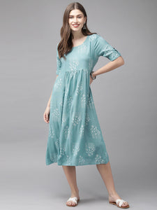 Turquoise Blue & Off-White Printed A-Line Kurta