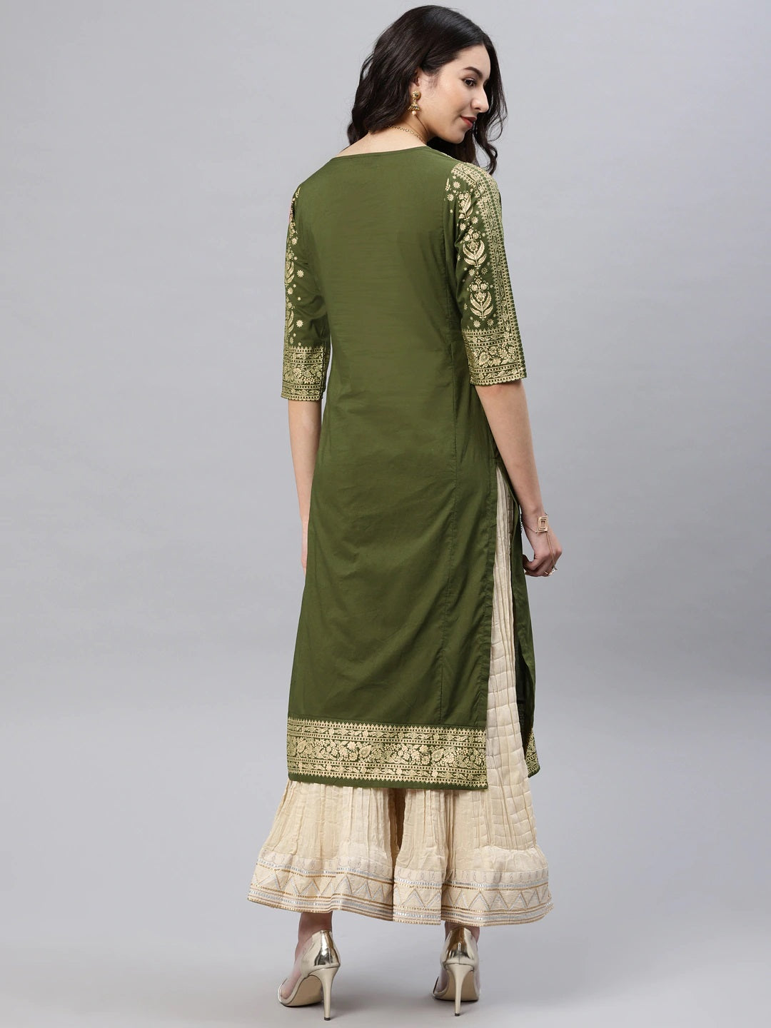 Olive Green & Golden Solid Straight Kurta (Top Only)