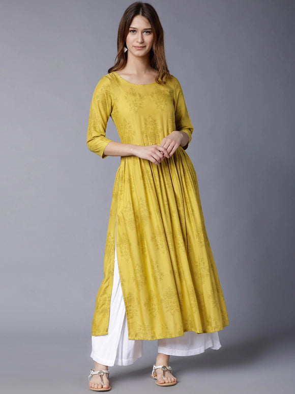 Yellow Floral Printed Empire Kurta (Top Only)