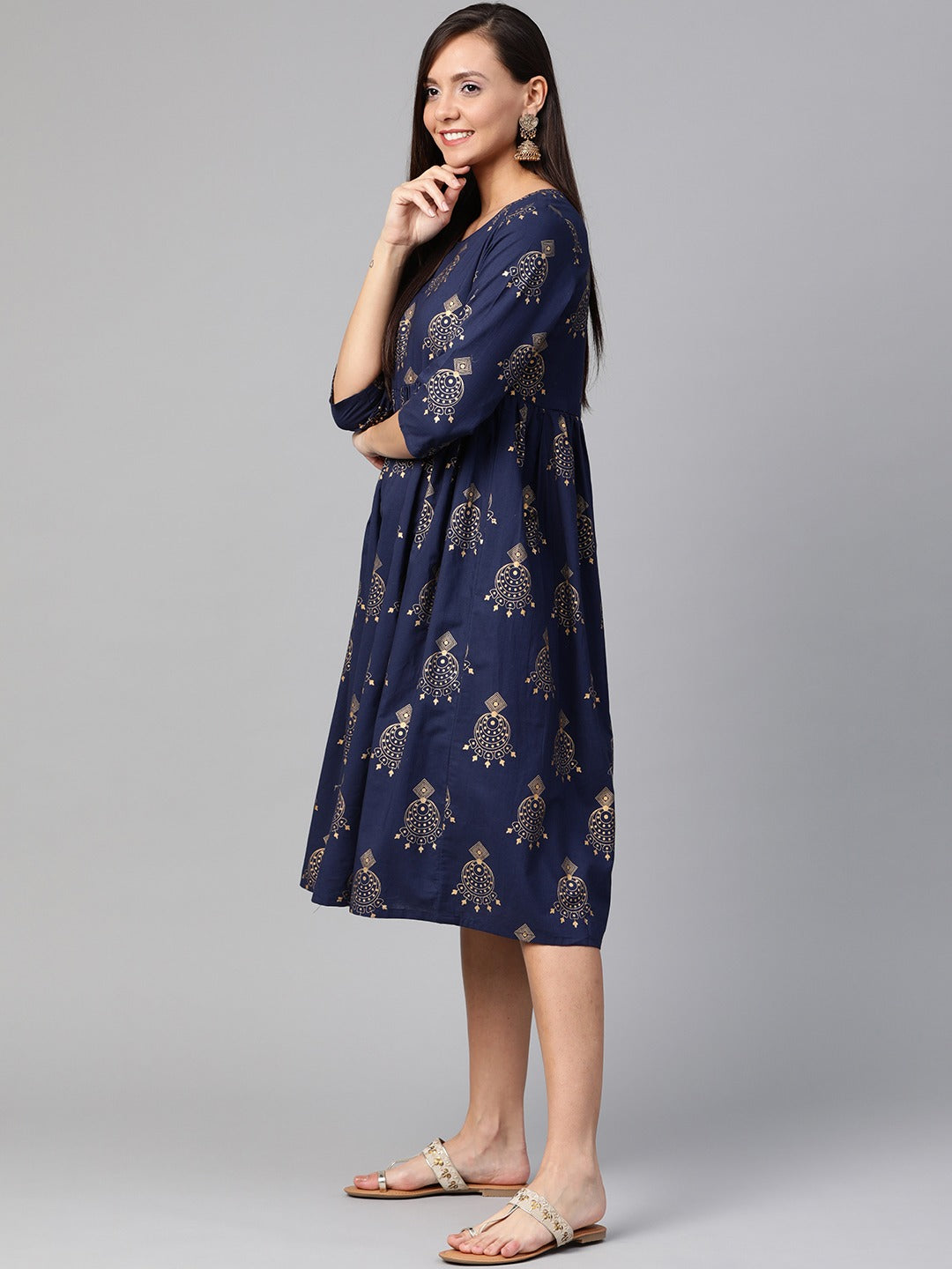 Navy Blue & Golden Quirky Printed A-Line Dress