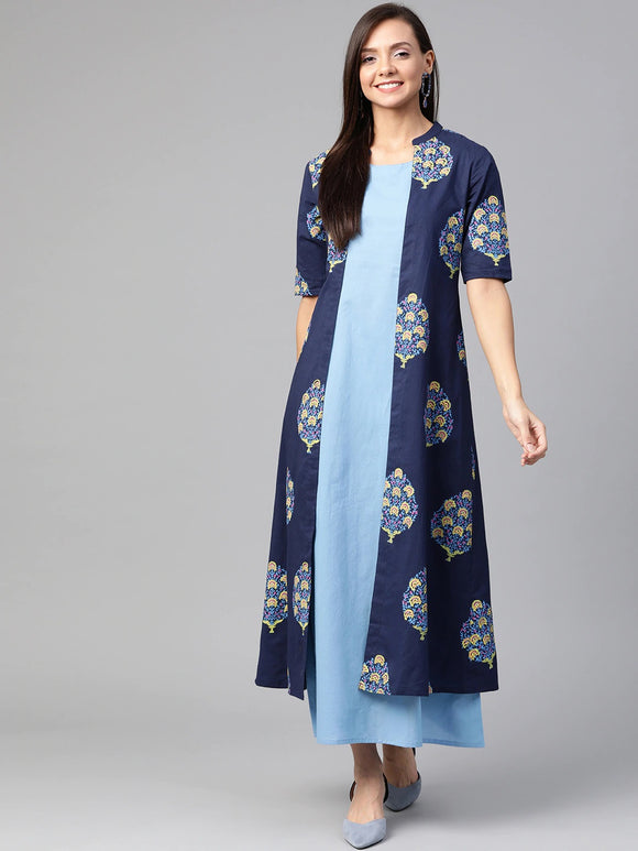 Blue Printed Maxi Layered Dress