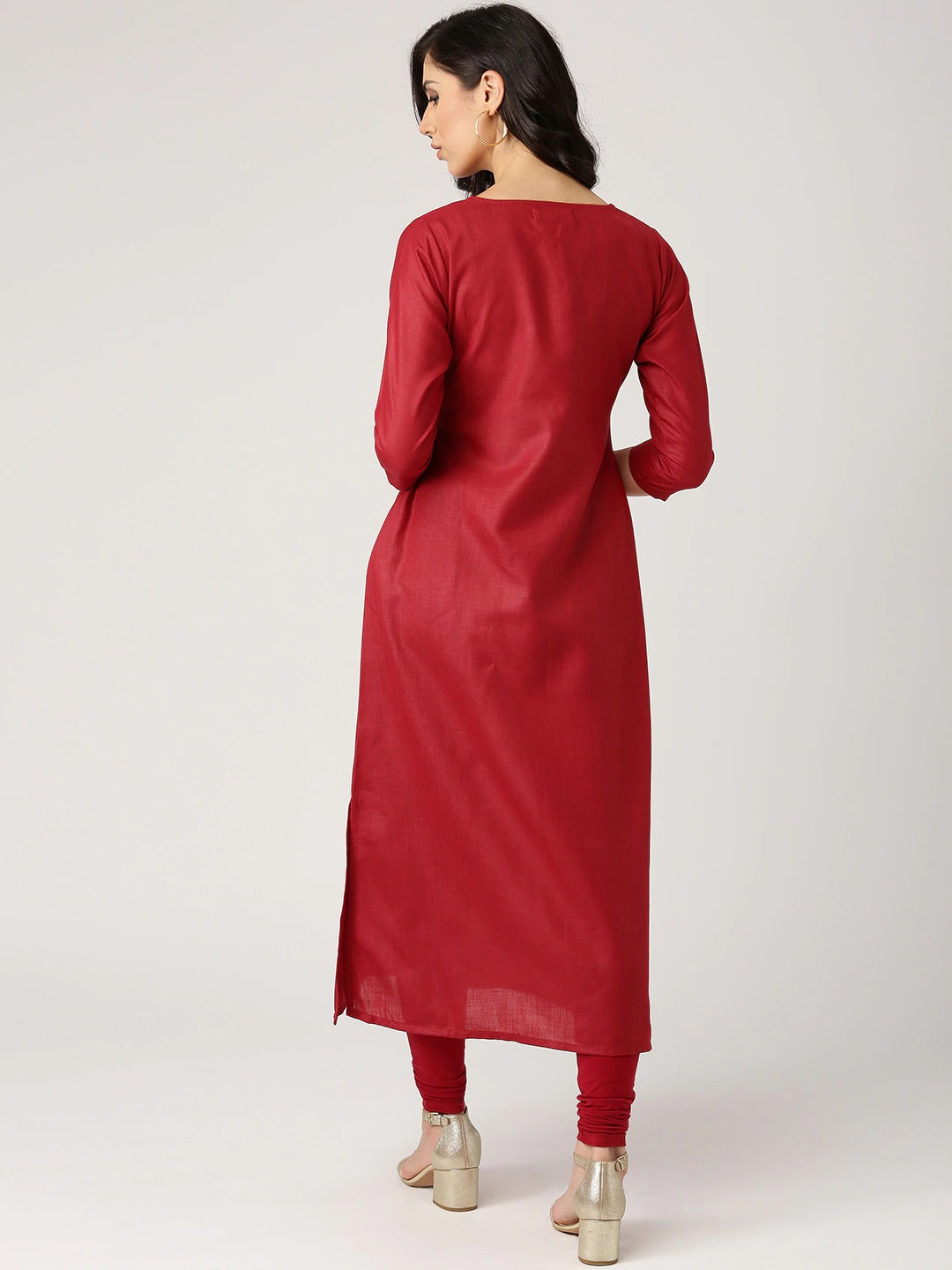 Maroon Solid A-Line Kurta (Top Only)
