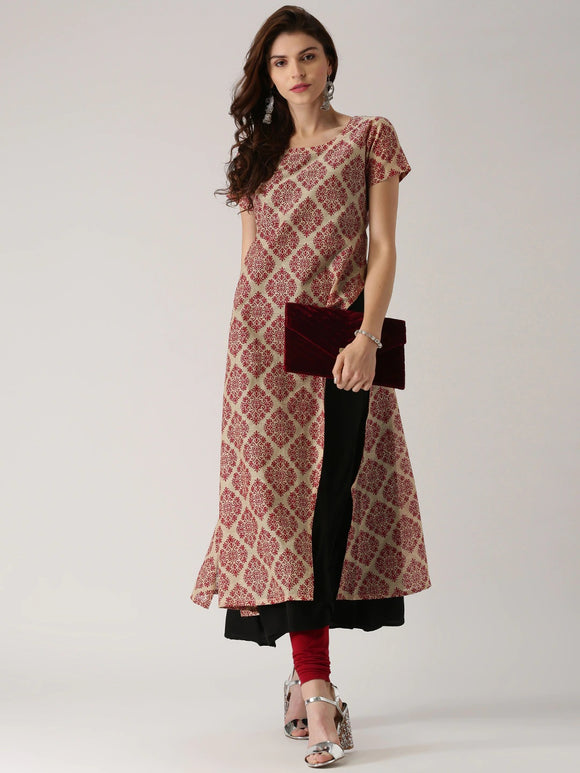 Beige & Magenta Printed Layered A-Line Kurta (Top Only)