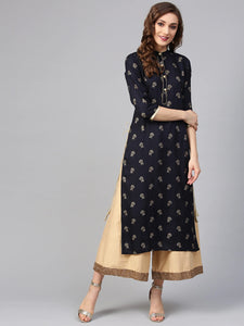 Navy Blue & Golden Printed Straight Kurta (Top Only)