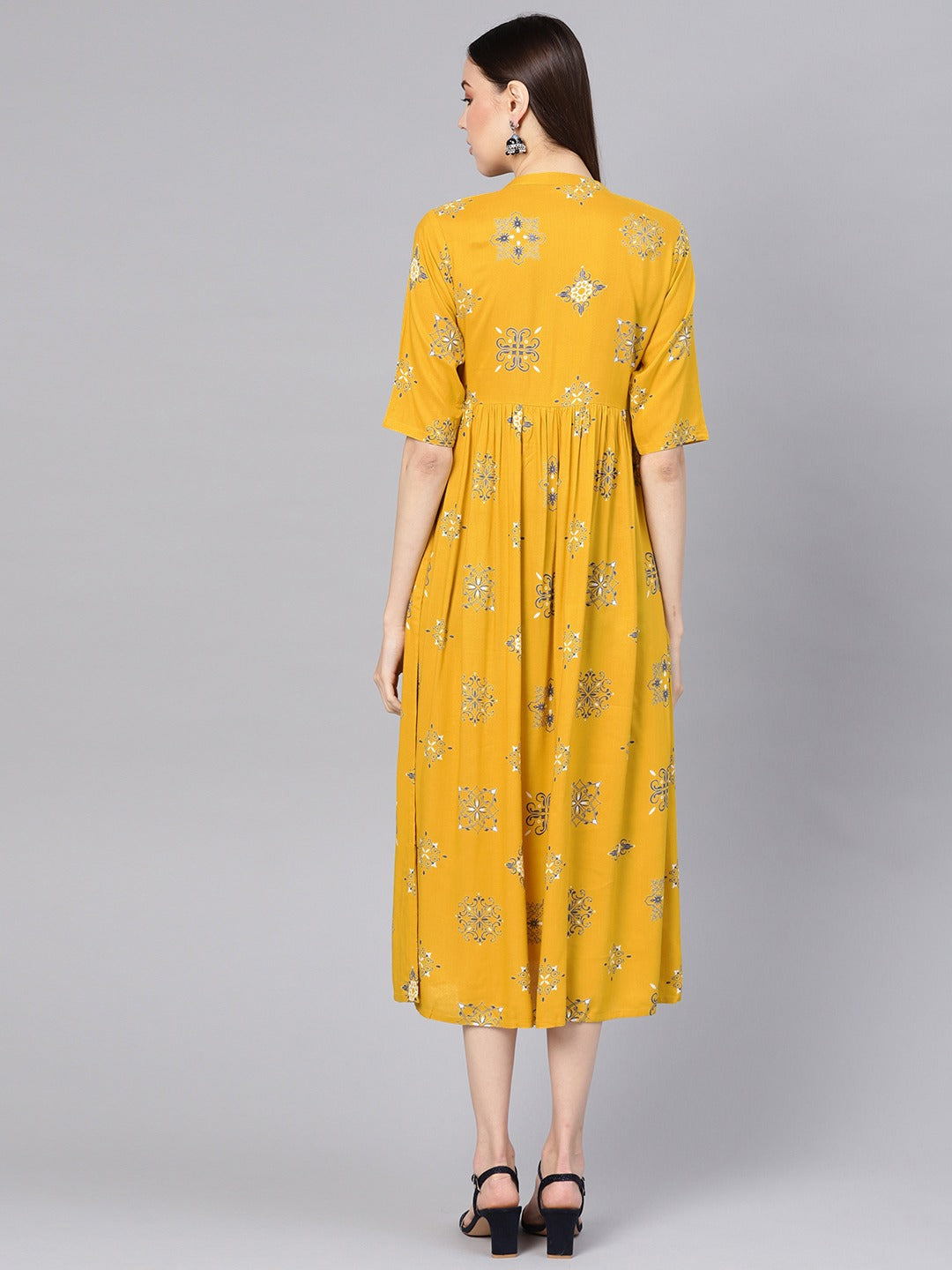 Mustard Yellow & Blue Printed Midi A-Line Dress